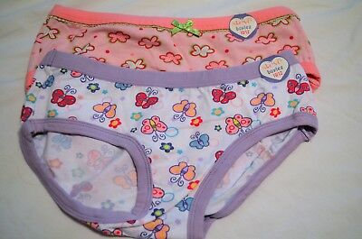 NWT Steve Girls Underwear 2 Pair White butterflies, Pink flowers Boyleg 10/12