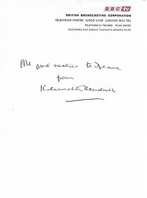Rare Kenneth Kendall Signed Note On Bbc Headed Paper Newsreader Treasure Hunt