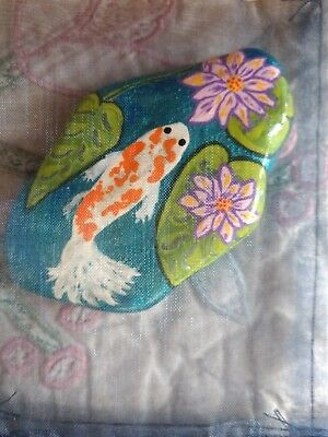Hand Painted Rock Art 1 Swimming Koi With Lilly Pads And Flowers