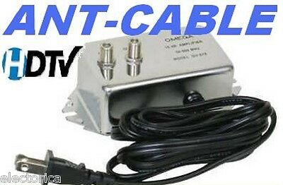 ANTENNA AMPLIFIER SIGNAL BOOSTER CABLE HD TV AMP OTA HD HDTV 20 dB
