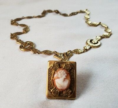 ANTIQUE Vtg Necklace Pendant Carved Shell CAMEO Rhinestone Gold Plated Locket