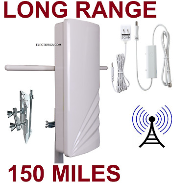 High Gain Digital Hd Tv Uhf Vhf Dtv Outdoor Dtv Antenna +Amp Ota Air Indoor 150M