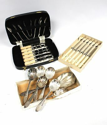 Vintage FIRTH STAINLESS STEEL Butter Knives & Scalloped Serving Spoons - A21