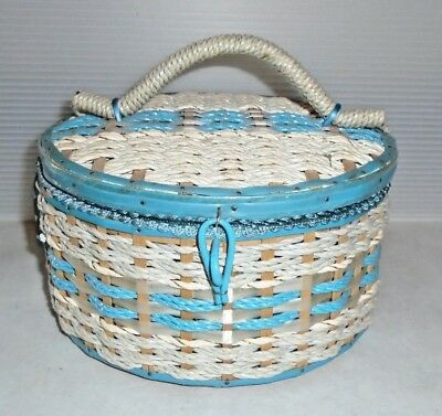 Mid Century Vintage Aqua & White Woven Round Sewing Basket Japan