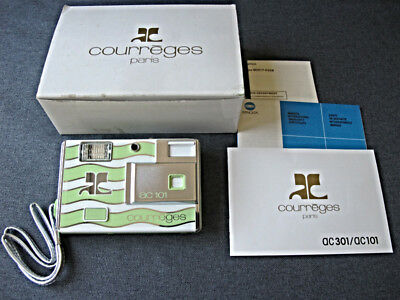 Vintage Minolta AC101 Courreges Disc Camera green & White Stripes w box & papers