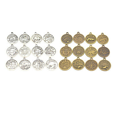 Jewellery Craft Design - 20 Antique Bronze Silver HOROSCOPE 12 Zodiac Charms