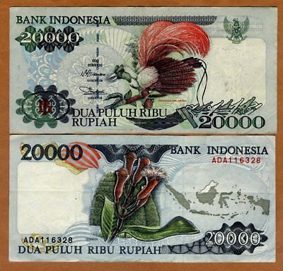 Indonesia, 20000 Rupiah, 1995 P-135a VF > Bird of paradise