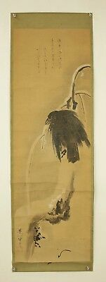 "JAPANESE MAKURI,HONSHI : HANABUSA ICCHO ""Crow on Tree in Snow""  @s510"