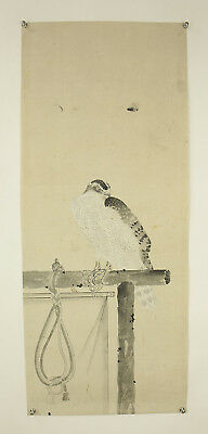 "JAPANESE MAKURI,HONSHI ""Hawk on Wood""  @s519"
