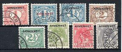 NETHERLANDS , OFFICIAL STAMPS , 1913 / 18 , ARMENWET , FULL SET of 8 , USED