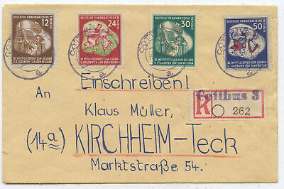 DDR R Brief Cottbus Kirchheim/Teck 1951