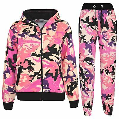 Kids Tracksuit Boys Girls Baby Pink Camouflage Jogging Suit Top Bottom 5-13 Year