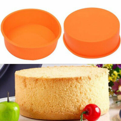 """8"""" Round Silicone Cake Mold Pan Non Stick Muffin Pizza Pastry Baking Tray Mould"""