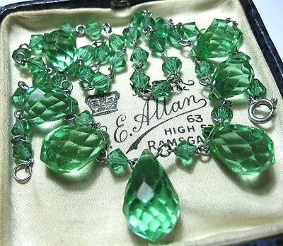 VINTAGE Antique ART DECO 30's Peridot GLASS Crystal BEAD Jewellery Drop NECKLACE
