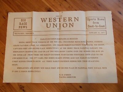 Rare Vintage Harley Flat Track Western Union Wire Poster January 1977