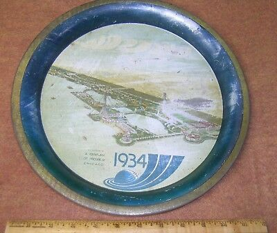 "1934 CHICAGO WORLD'S FAIR 12"" TIN LITHO WATER TRAY Comet Arcturus  Birdseye View"