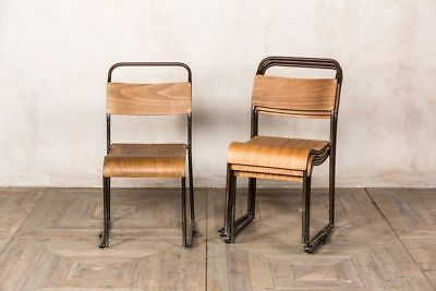 Mid-Century School Chairs Stacking Dining Chairs Metal Frame School Chairs
