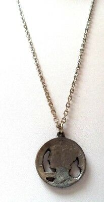 "Stunning Vintage Estate Silver Tone Faux Coin 27"" Necklace!!!!! 8998N"