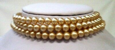 """Stunning Vintage Estate Glass Faux Pearl Beaded Tan 15"""" Necklace!!! 9612P"""