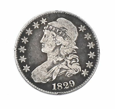 1829 Capped Bust Half Dollar Large Letters 90% Silver Collectible Us Coin Vg-F