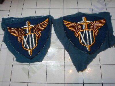 2x wwii military WW2 PATCH pair WOOL set US ARMY 12th Air Force XII Wings USAF