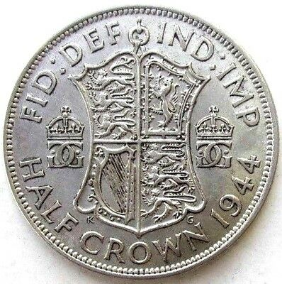 Great Britain Uk Coins, Half Crown 1944, George Vi, Silver 0.500