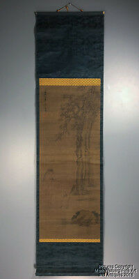 Chinese Scroll Painting on Silk, Horse & Trees, Calligraphy & Red Seal Mark