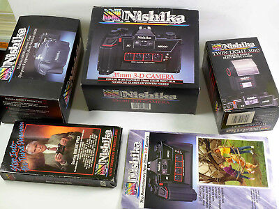 NISHIKA N8000 3-D Camera with Flash case instructions and more, nice! - RL