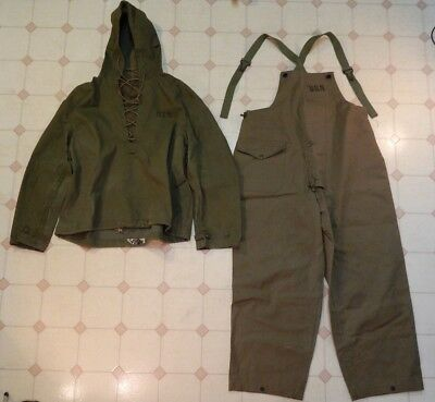 WWII U.S. Navy, Foul Weather Pull Over Top W/ Bib Type Trousers, Size Medium,