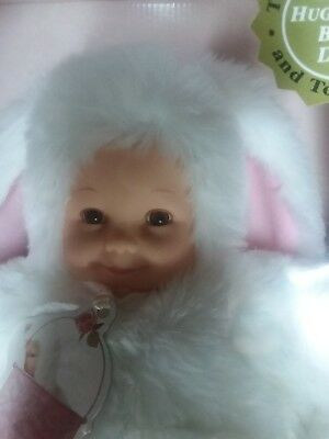 "Anne Geddes Baby Bunnies 15"" Brown Eyed Bunny with White Fur 1997, New in Box"