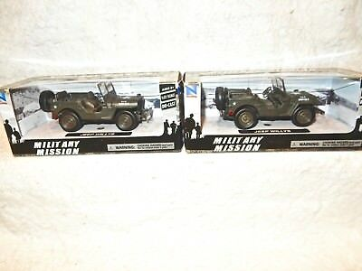 Great Layout Accessories: 2 Army Jeeps for flatcar load NewRay-die-cast New&box!