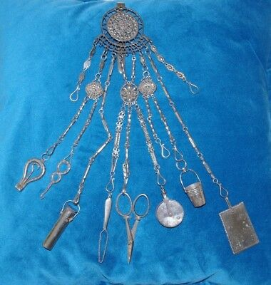 Early Victorian Antique 11 Arm Chatelaine - With Many Sewing Tools - Thornhill