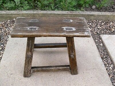Small Antique Naive Wooden Stool, Possibly Ash