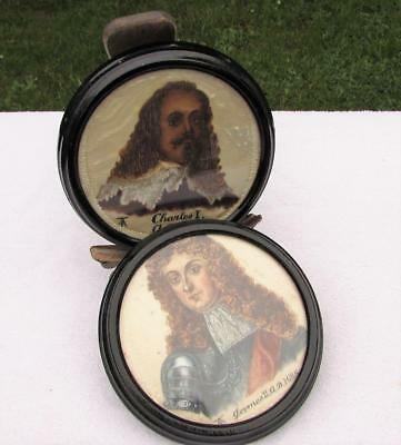 PAIR OF ANTIQUE 19thC VICTORIAN SILK PORTRAITS - CHARLES I & JAMES II - SIGNED