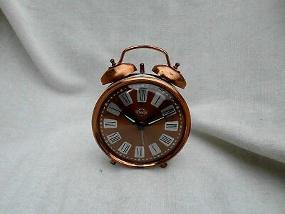 Vintage Retro Smiths Timecal Fully Working Alarm Clock Copper & Cream