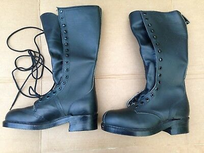 Vtg Nos Size Men's 7 Addison Us Army Black Leather Tall 16 Eyelets Lineman Boots