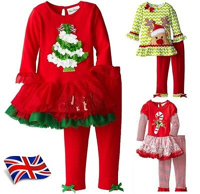 UK Seller Wow Girls Christmas Outfit Party Dress Top Trousers 2pc set 1-6 Years
