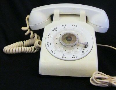Vintage 12-64 Bell System Western Electric WHITE ROTARY DIAL TELEPHONE PHONE