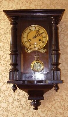ANTIQUE WALL CLOCK 8-DAY CHIMING CLOCK EBONISED CASE VICTORIAN circa 1890