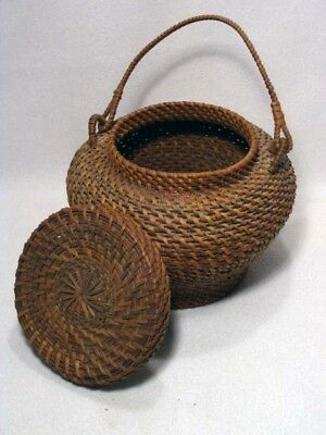 Vintage Woven Filipino Basket With Lid And Woven Handle**wow!!