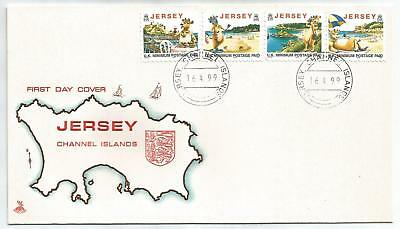 JERSEY 1999 TOURISM LILLIE THE COW REISSUED DATE SET OF 4 on FIRST DAY COVER