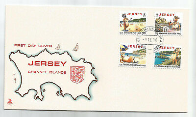 JERSEY 2000 TOURISM LILLIE THE COW REISSUED DATE SET OF 4 on FIRST DAY COVER