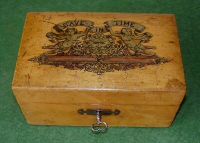 ANTIQUE MONEY BOX WOOD SUPERB GILDED DECORATION SAVE IN TIME LOCK & KEY c 1890