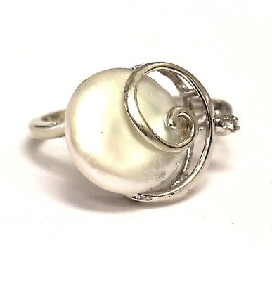 14k white gold .02ct SI2 H diamond womens pearl ring 3.3g estate vintage antique