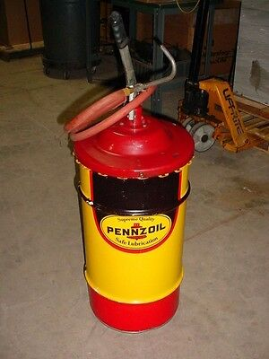 Pennzoil Supreme Quality Safe Lubrication Oil Drum Can With Alemite 7534-4 Pump