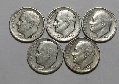Lot of (3) 1949 S & (2) 1950 S Roosevelt Dime - Circulated Condition - 76SA