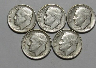 Lot of (5) 1952 S Roosevelt Dime - Circulated Condition - 78SA