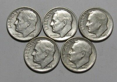 Lot of (5) 1955 S Roosevelt Dime - Circulated Condition - 81SA