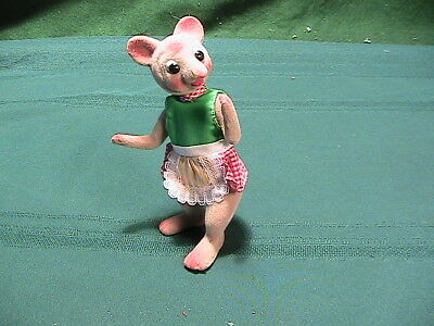 "Vintage Mouse  Wool Chenille Felt 1960s  about 5"" tall Figure Label say ""G"""