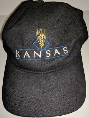 100% Black Cotton Twill Hat with Embroidered Kansas and Wheat on the front